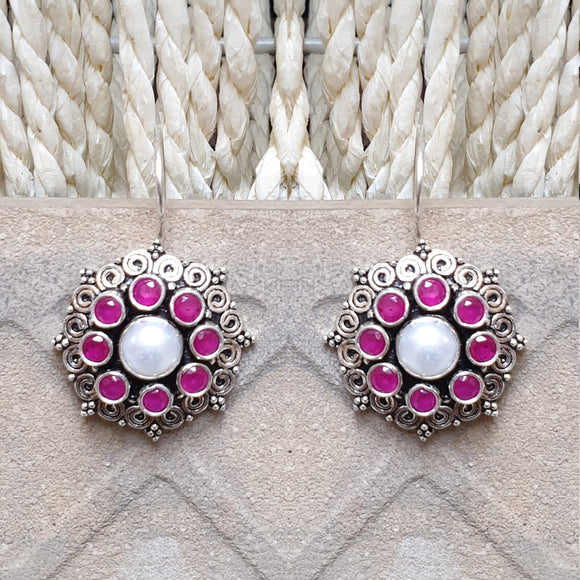 925 Silver  Pink With Pearl Center Flower Earrings