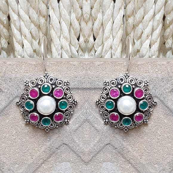 925 Silver  Multicolor With Pearl Center Flower Earrings