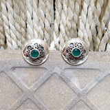 925 Silver Stud With Green Center