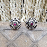 925 Silver Studs With Pink Center