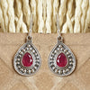 925 Silver Earrings With Ruby Red Center