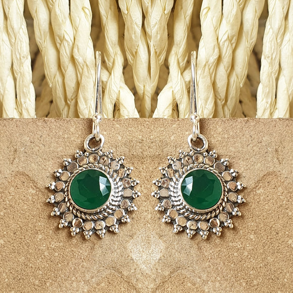 925 Silver Earring With Green Center