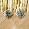 925 Silver Square Studs With Green Center