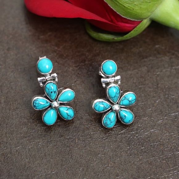 925 Silver Turquoise Floral Studs