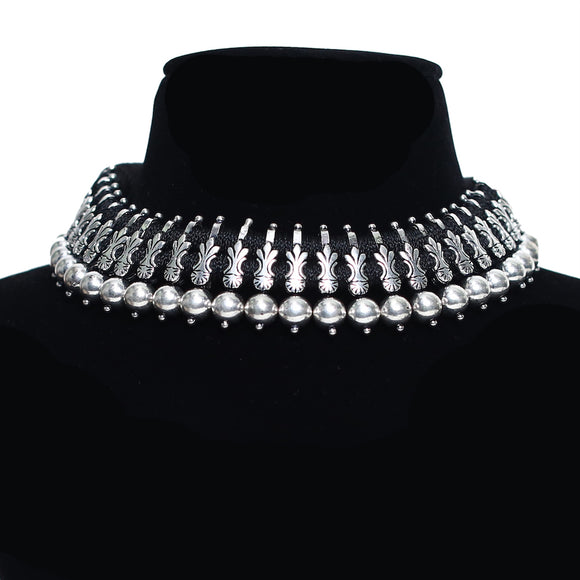 925 Oxidised Silver Tribal Choker Necklace