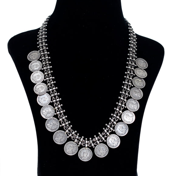 925 Oxidised Silver George V King Coin Necklace
