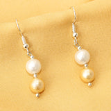 Matt White Golden Pearl Earrings