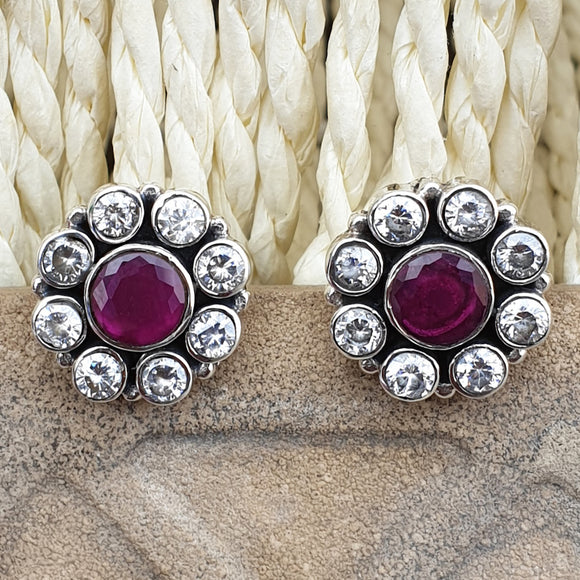 925 Silver Zirconia Studs With Ruby Red Center
