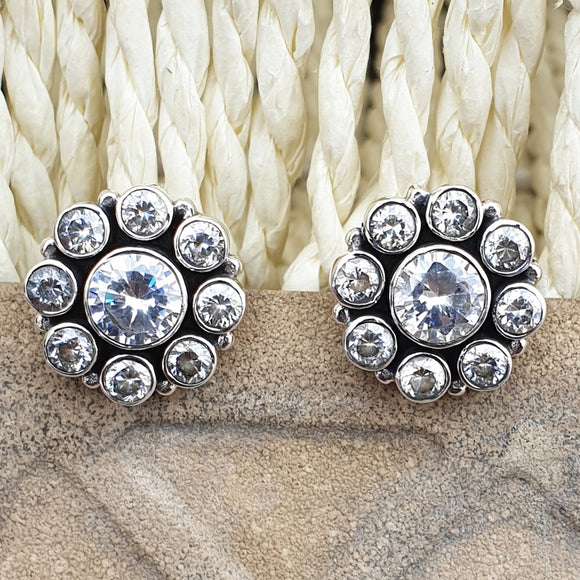 925 Silver Zirconia Studs With Zirconia Center