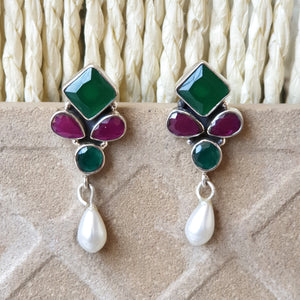 925 Silver Multicolor Onyx Studs With Pearl Hanging