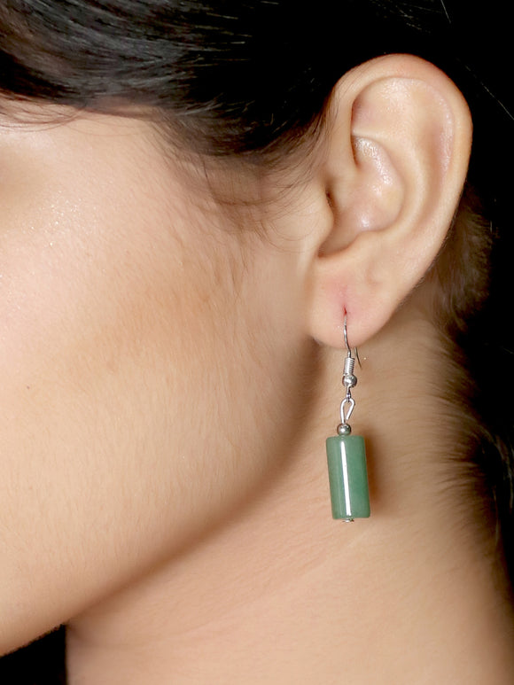 Imeora Green Onyx Cylindrical Shape Earrings
