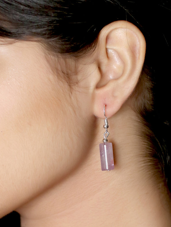 Imeora Amethyst Cylindrical Shape Earrings