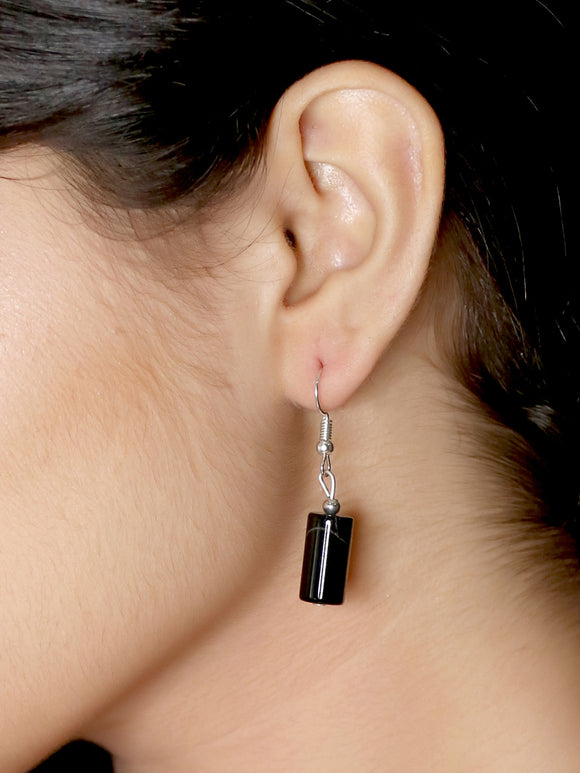 Imeora Black Onyx Cylindrical Shape Earrings