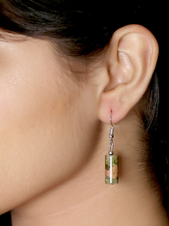 Imeora Unakite Cylindrical Shape Earrings