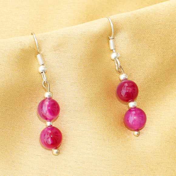 Pink Agate Earring