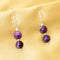 Imeora Knotted Purple Agate Graduation Double Line Necklace With 8mm Earrings