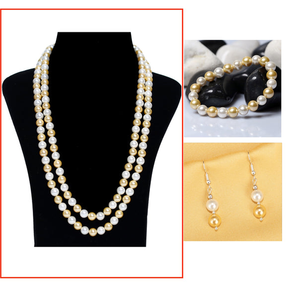 Golden White Pearl Necklace Earring