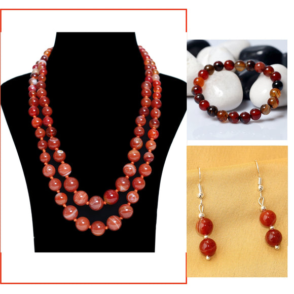 Agate Necklace, Earrings, Bracelets