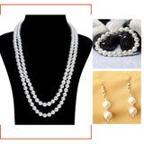 Shell Pearl Necklace, Bracelet, Earrings