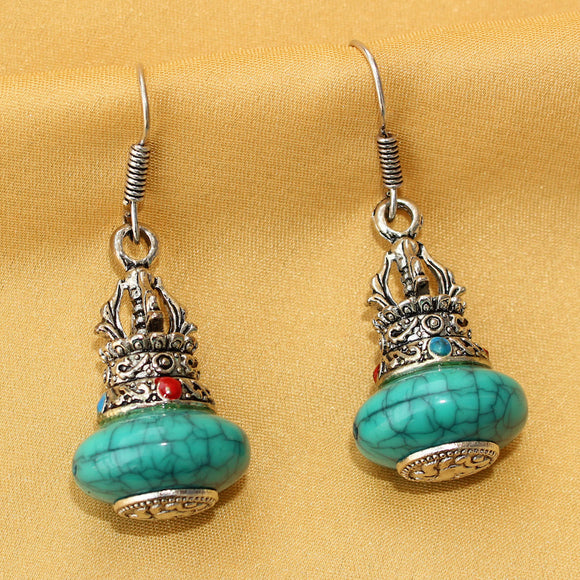 Imeora Oxidised Silver Turquoise Cylindrical Earrings