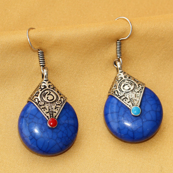 Imeora Oxidised Silver Blue Drop Earrings