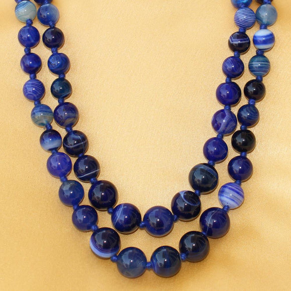Imeora Knotted Royal Blue Agate Graduation Double Line Necklace