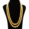 Imeora Tripple Shaded Golden Color Double Line Shell Pearl Necklace With 10mm Golden Shell Pearl Studs