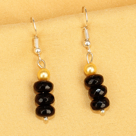 Imeora Black Quartz Earrings With 5mm Shell Beads