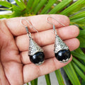 Imeora Oxidised Silver Black Cone Shape Earrings