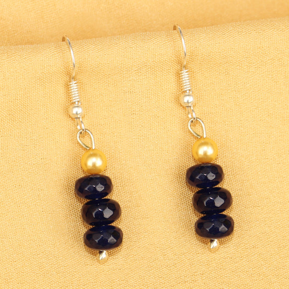 Imeora Dark Blue Quartz Earrings With 5mm Shell Beads