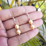 Matt Golden Pearl Earrings