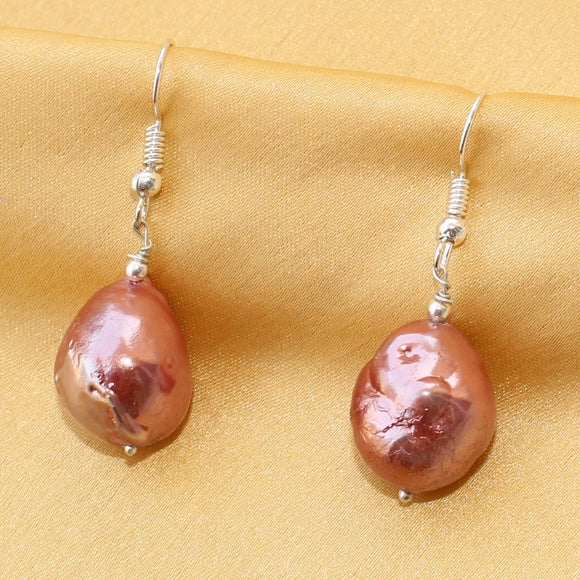 Imeora Fresh Water Baroque Pearl Red Colour Earrings