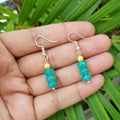 Imeora Turquoise Quartz Earrrings With 5mm Shell Beads