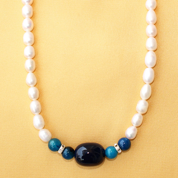 Imeora Fresh Water Pearl with Dark Blue Tumble Necklace Set