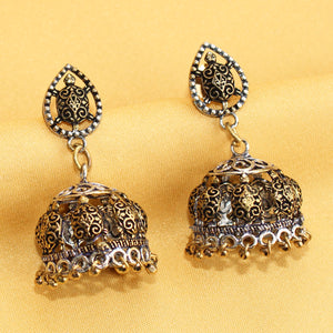 Imeora Dual Tone Tortoise Oxidised Silver Earrings