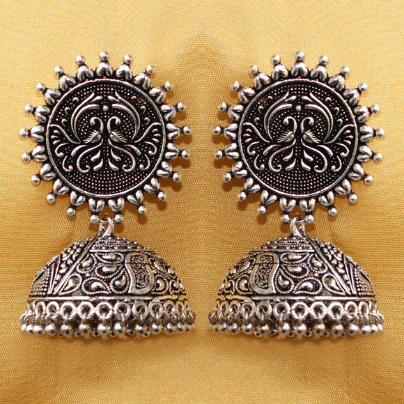 Imeora Oxidised Silver Studs with Jhumka