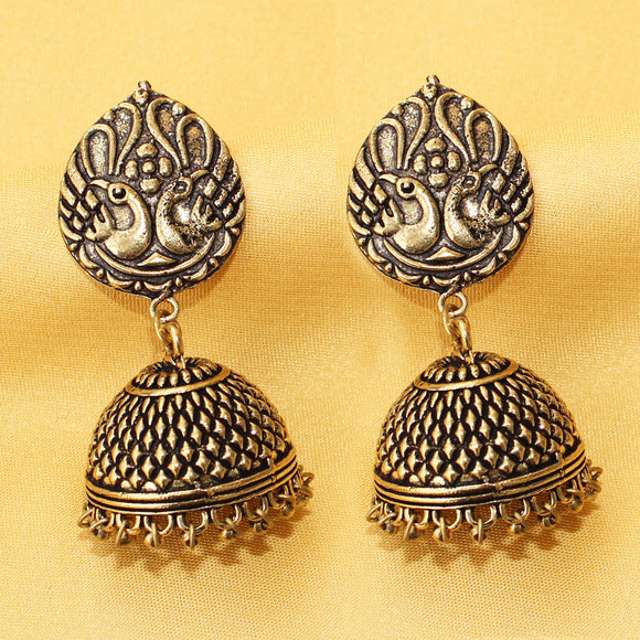Imeora Oxidised Silver Golden Tone Peacock stud with Jhumki