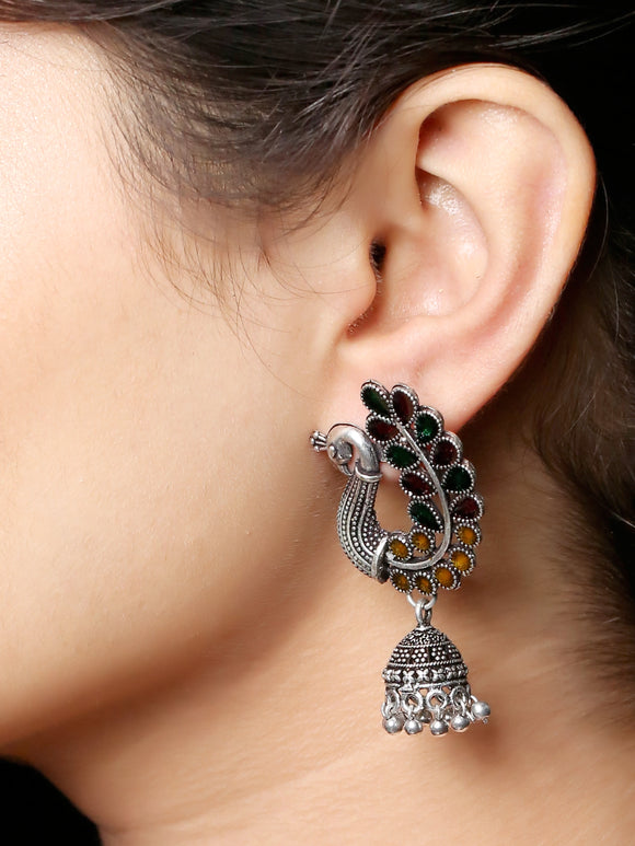 Imeora Oxidised Silver Multicolor Peacock With Jhumki Earrings