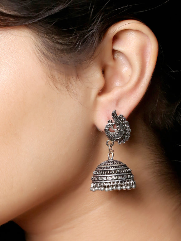 Imeora Oxidised Silver Peacock Stud With Jhumki Drop