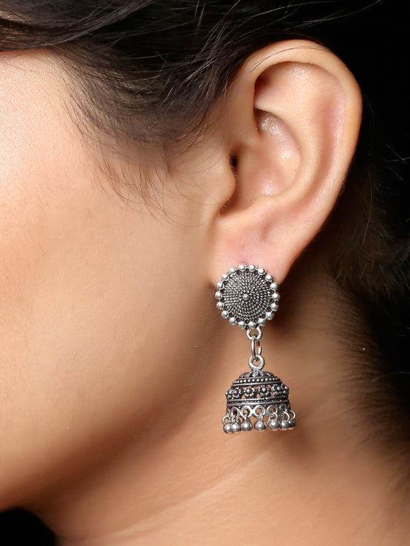 Imeora Oxidised Silver Stud With Jhumki Drop