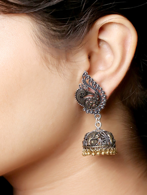 Imeora Oxidised Silver Dual Tone Peacock With Jhumki Earrings