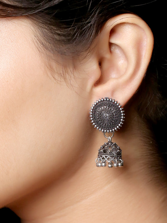 Imeora Oxidised Silver Stud With Jhumki Earrings