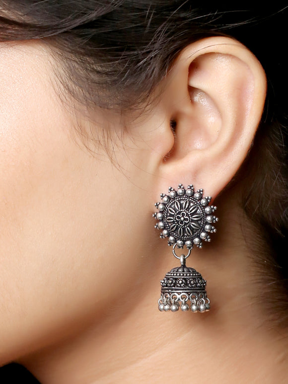 Imeora Oxidised Silver Flower Stud With Jhumki Earrings