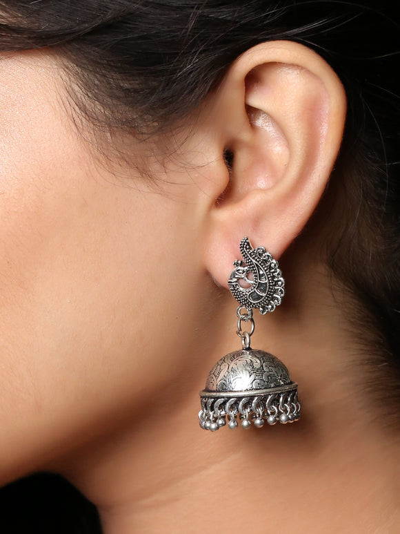 Imeora Oxidised Silver Peacock With Jhumki Earrings