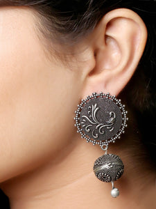 Imeora Oxidised Silver Stud With Peacock And Ball Hanging Earrings