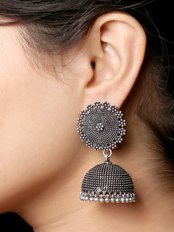 Imeora Oxidised Silver Stud With Big Jhumka