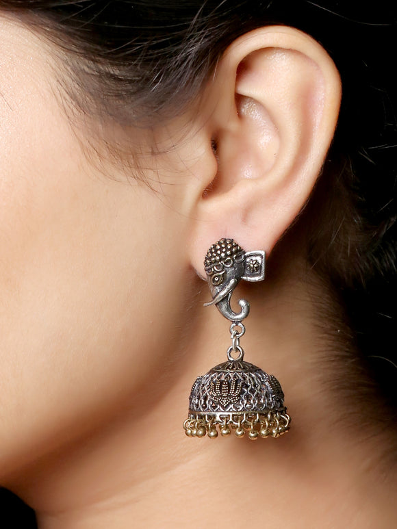 Imeora Oxidised Silver Dual Tone Elephant Stud With Jhumki Earrings