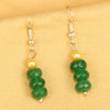 Imeora Dark Green Quartz Earrings With 5mm Shell Beads