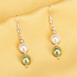 Imeora White Green 8mm Shell Pearl Earrings
