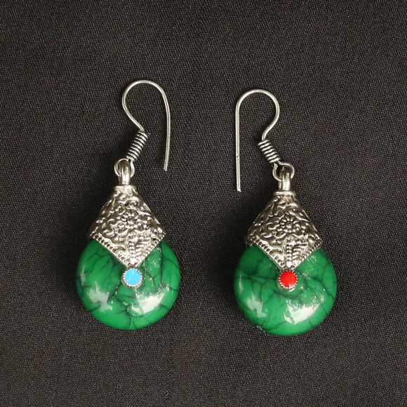 Imeora Oxidised Silver Green Drop Earrings